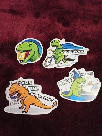 Наклейки на ноутбук javascript джаваскрипт js динозавр deadline t-rex