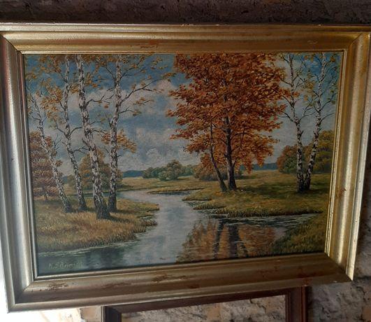 Stary obraz w drewnianej ramie.