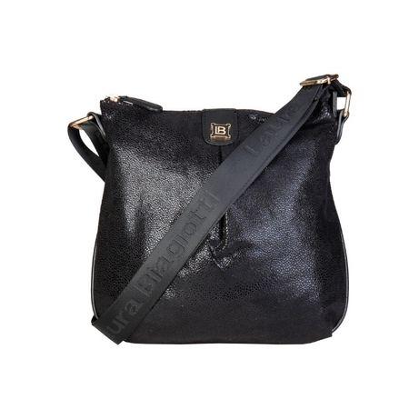 Laura Biagiotti włoska torebka na ramię listonoszka metaliczna czarna