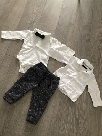 Zestaw niemowlęcy h&m reserved smyk na chrzest kamizelka koszula