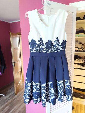 sukienka koronkowa, gipiura, wizytowa, na wesele