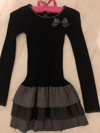 Czarna szara sukienka falbanka golf golfowa 128 bdb