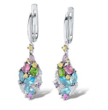 Серебряные серьги цветными фианитами,бренд Lurie Jewelry.