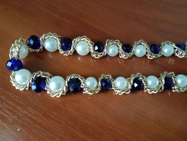 Подарочный набор колье и сережки жемчуг синие камни