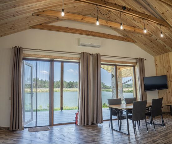 Аренда Дома на берегу озера, рыбалка, баня, лес речка коттедж дом Киев