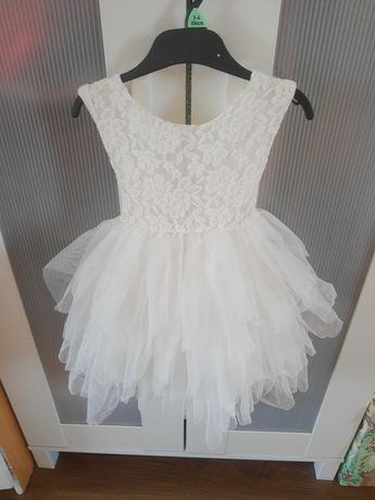 Sukienka biała koronka tiul