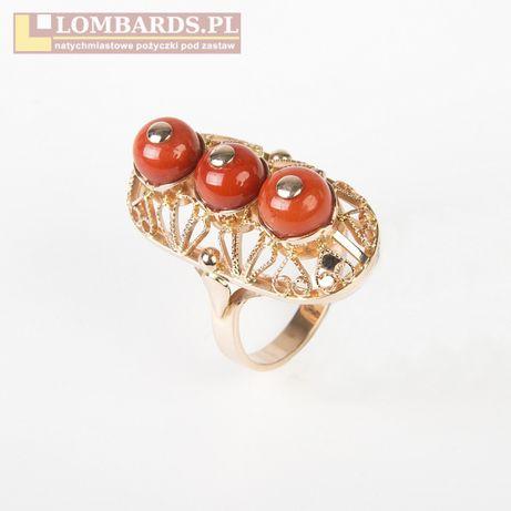 Złoty pierścionek z koralami !! próba 585 9,09 gr