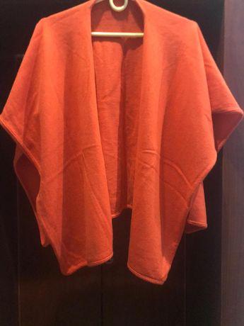ponczo, cieplutkie w pomaranczowym kolorze