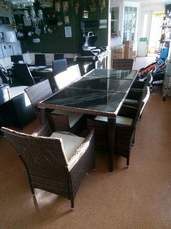 Meble ogrodowe stół osiem foteli brąz mozajka, konst aluminiowa