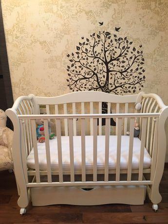 Кроватка детская Верес с маятником, 2 уровня. Цвет Слоновая кость