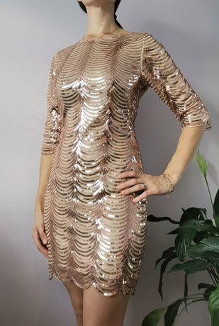 Sukienka z cekinami sylwestrowa andrzejkowa rozmiar M