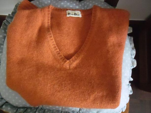 Colete, cor laranja,80% lã(c/novo)