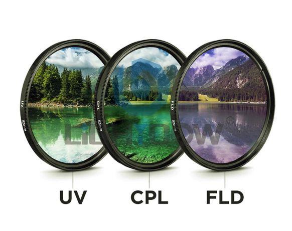 Набор фильтров 3 в 1 UV + CPL + FLD для Canon, Nikon, Sony 55мм