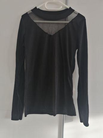 Czarna bluzka siatka prążek ml