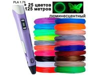 3D ручка +комплект PLA 25цветов +трафареты