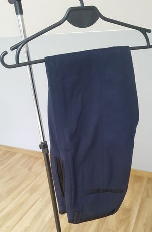 Męskie spodnie eleganckie granatowe Zara 40 L Slim fit