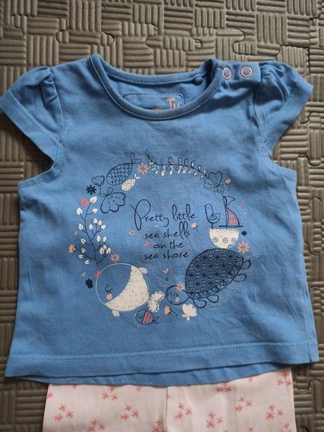 Bluzeczka niebieska koszulka t-shirt 3-6 miesiąc 62-68 ,74 z firmy TU