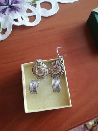 Kolczyki srebrne, zestaw.