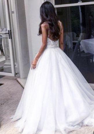 Suknia ślubna biel gorset tren princess księżniczka z koronką 2020