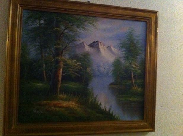 tela pintada á mão com moldura