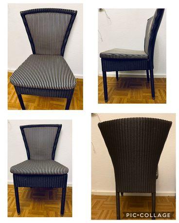 4 sztuki Krzesla Komplet Rattan Czarny/brązowy/beż/poduszki zfejmowane