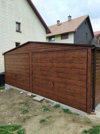 Garaż blaszany, garaż blaszak 6x5 ORZECH - PRODUCENT