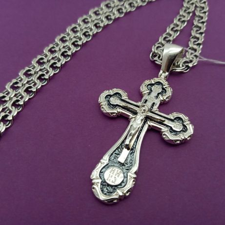 Серебряный крести крест 3223 + Серебряная цепь серебро