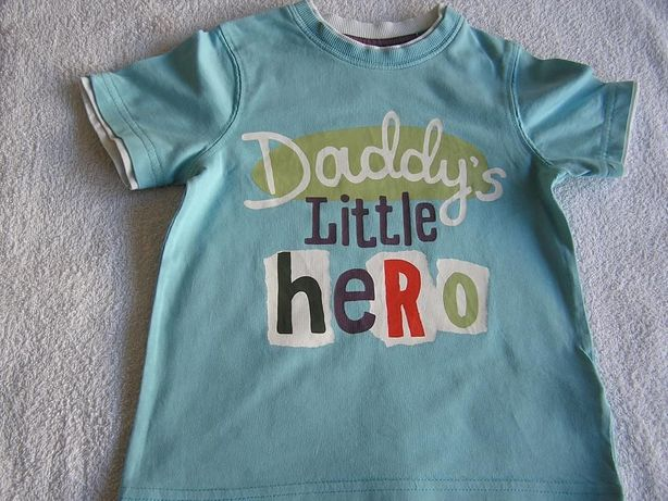 Koszulka 98 Dzień Ojca DDADDY'S HERO krótki rękaw Mothercare IDEALNA