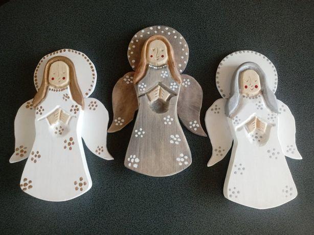 Aniołki, rzeźba drewniana, rękodzieło, prezent