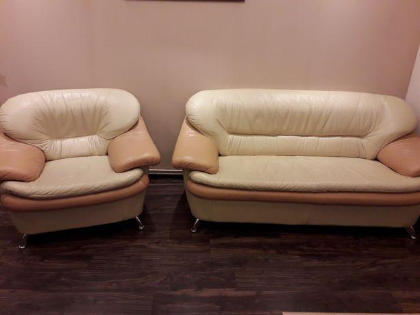 Kanapa i fotel skóra naturalna komplet wypoczynkowy