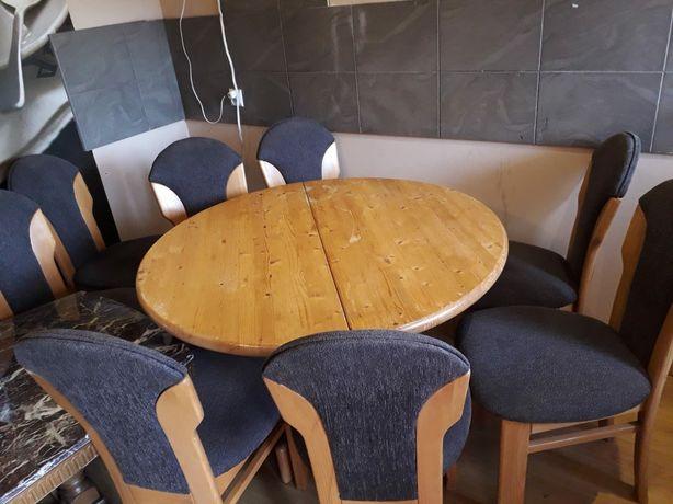 Komplet Sosnowy Do Jadalni. Stół + 8 Krzeseł.
