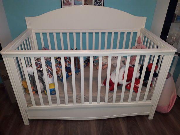 Łóżeczko dla dziecka, łóżko białe 78x150 dla dziecka z materacem