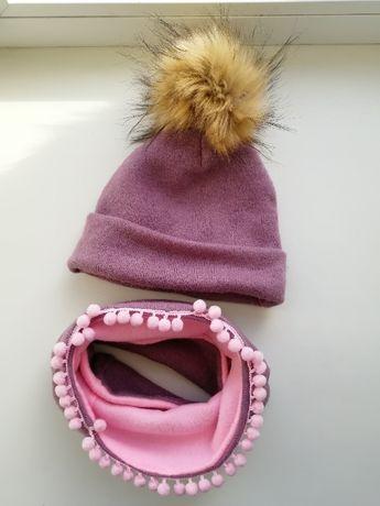 Зимняя шапочка и хомут для девочки