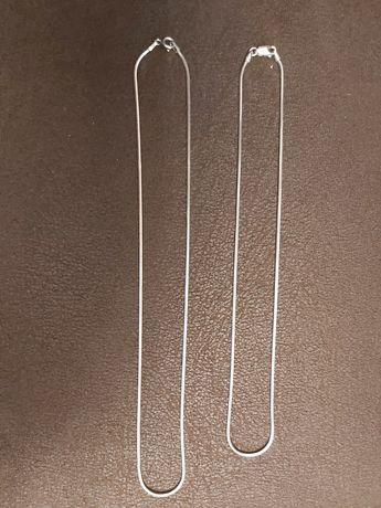 dwa lańcuszki srebrne o długości 44 i 22cm
