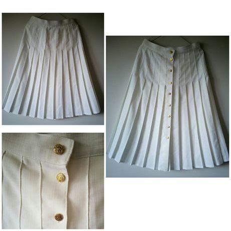 biała plisowana spódnica ze złotymi guzikami rozmiar 40-42