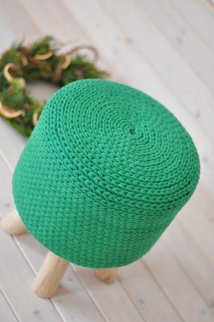 Pokrowiec na stołek skandynawski zielony święta sznurek