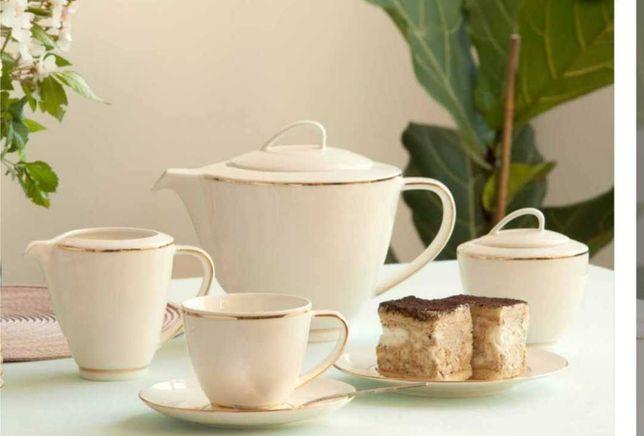 zestaw kawowy dla 6 os. porcelana MariaPaula Nova Ecru Złota Linia