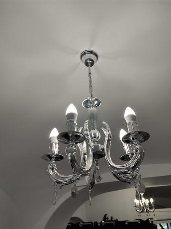 lampa Żyrandol srebrny 4 szt komplet