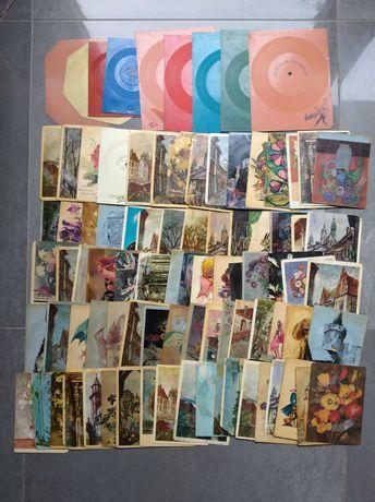 Stare pocztówki kartki dźwiękowe do gramofonu vintage retro