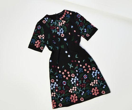 Черное миди платье с вышивкой цветы zara
