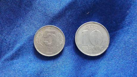 Monety 5 i 10 Pfennig 1968 r. Niemcy NRD Szt.2