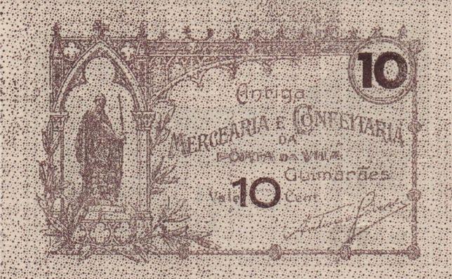 Cédula de 10 Centavos da Antiga Mercearia, de Guimarães-nova - rara