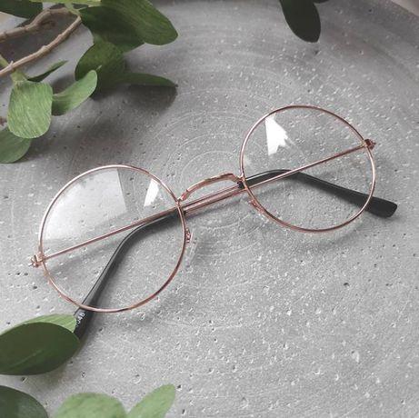 Имиджевые круглые очки золотые с круглой оправой
