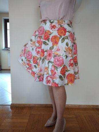 Spodnica za kolano w kwiaty h&m
