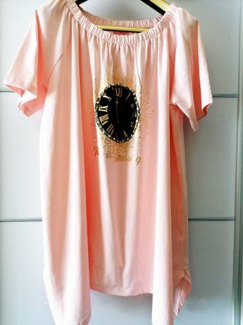 Plus Size Oversize Różowa Bluzka Tunika hiszpanka Złoty ZEGAR Holo