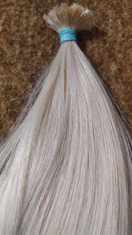 Капсулированные натуральные волосы  57 см