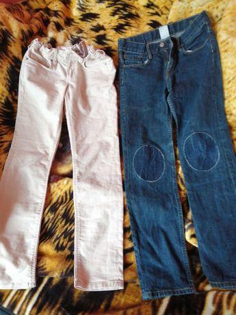 Spodnie granatowe beżowe HM H&m 140, 146 - 9 10, 11 lat jeansy logg