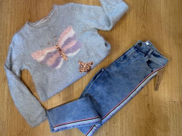Модные джинсы с яркими лампасами для девочки