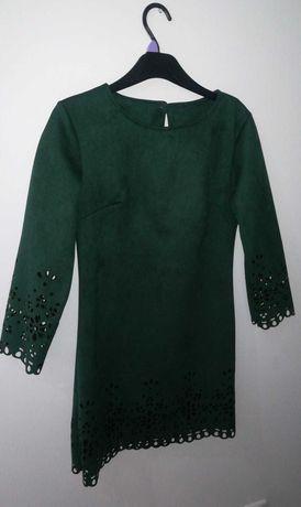 Butelkowo zielona sukienka