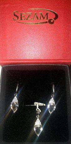 Nowy Komplet nowej biżuterii znanej firmy SEZAM srebro pr 925
